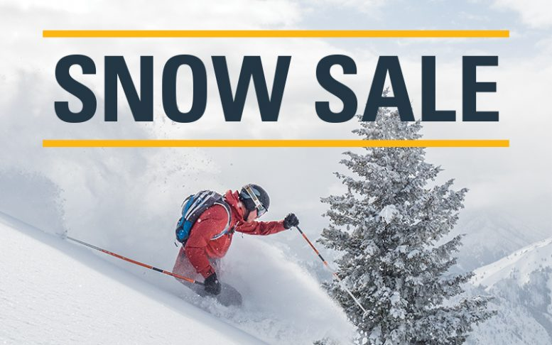 winter day skier in red jacket with pine tree snow sale