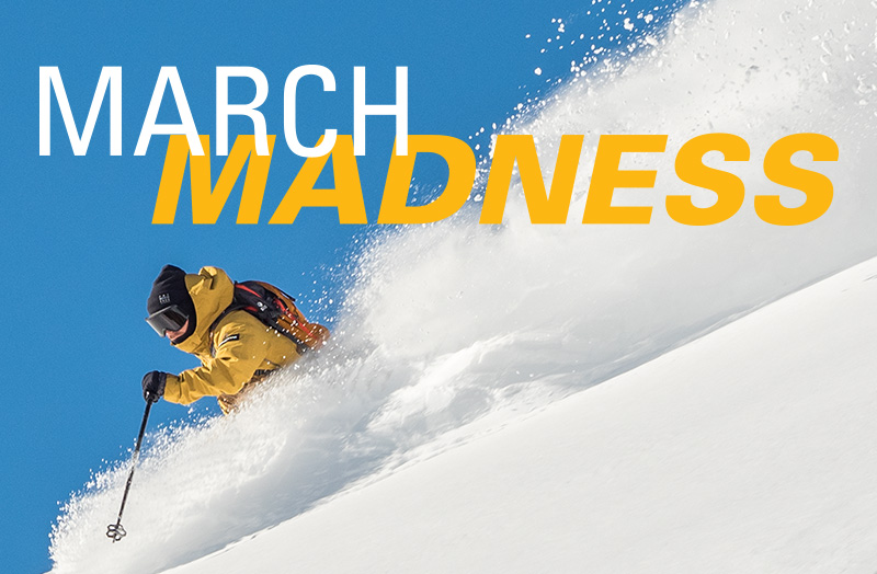 Blue sky skier with snow March Madness